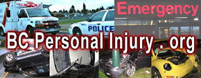 BC personal injury & ICBC claims lawyers - photos of car accidents, ambulances & police cars, &  VGH hospital  emergency entrance - Click to Greater Victoria lawyers directory