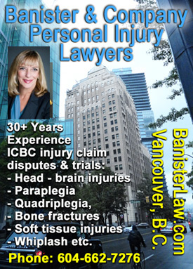 Photo of Sandra Banister, QC Queens Counsel, with Marine Building where her office is located on Burrard St.,  has 30 plus years personal injury and employment law experience  CLICK TO HER WEBSITE