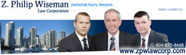 Elliot Holden, lawyer , in Nov. 2013, joins Z. Philip Wiseman, senior Injury lawyer  and Stuart Davies, former ICBC case manager ,  in  personal injury law firm  2 blocks from Vancouver General Hospital Emergency Dept. entrance, photo
